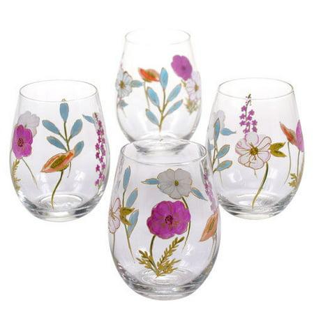 Certified International Rainbow Seeds 22 oz. Stemless Wine Glass (Set of 4) by