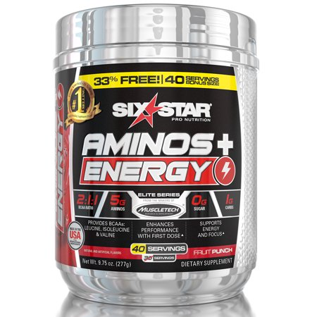 Six Star Pro Nutrition Aminos + Energy Powder, Fruit Punch, 40 (Star David Punch)
