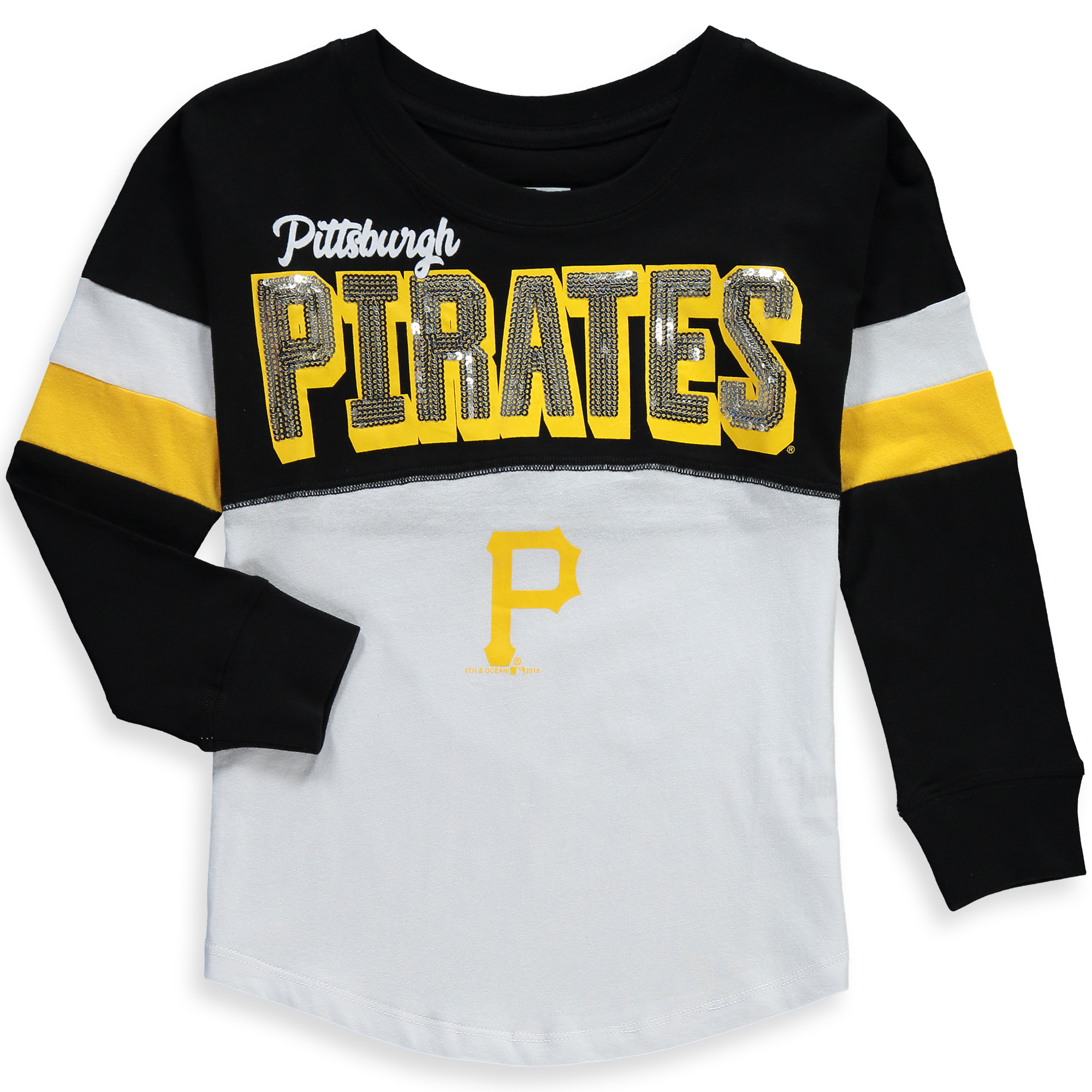 Pittsburgh Pirates 5th & Ocean by New Era Girls Youth Baby Jersey Long Sleeve T-Shirt - Black/White