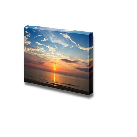 Canvas Prints Wall Art - Beautiful Scenery/Seascape Sunset on the Beach | Modern Wall Decor/Home Decoration Stretched Gallery Canvas Wrap Giclee Print & Ready to Hang - 32