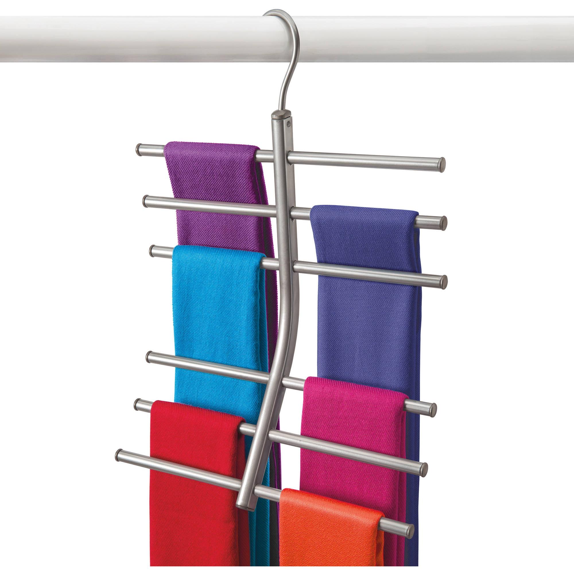 Lynk Hanging Tiered Scarf Holder, Closet Hanger, Organizer Rack, Platinum
