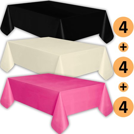 12 Plastic Tablecloths - Black, Ivory, Hot Pink - Premium Thickness Disposable Table Cover, 108 x 54 Inch, 4 Each Color - Hot Pink Plastic Tablecloth