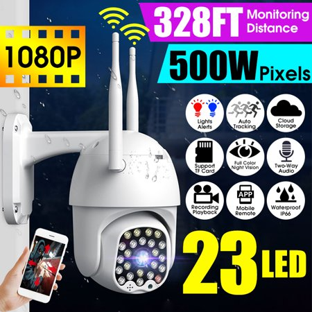 [23 LEDs] 5.0MP HD 2.4G WiFi Camera With Dual 5DB Antennas Outdoor IP Camera 1080P IP66 Waterproof Wireless 500W Pixel Color Night Version PTZ Two-Way Audio Motion Sensor For Home Security Surveillanc - image 1 of 13