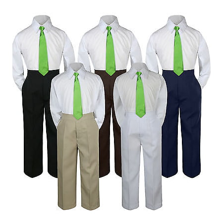 3pc Lime Green Neon Tie  Suit Shirt Pants Set Baby Boy Toddler Kid Uniform - Neon Green Outfit Ideas