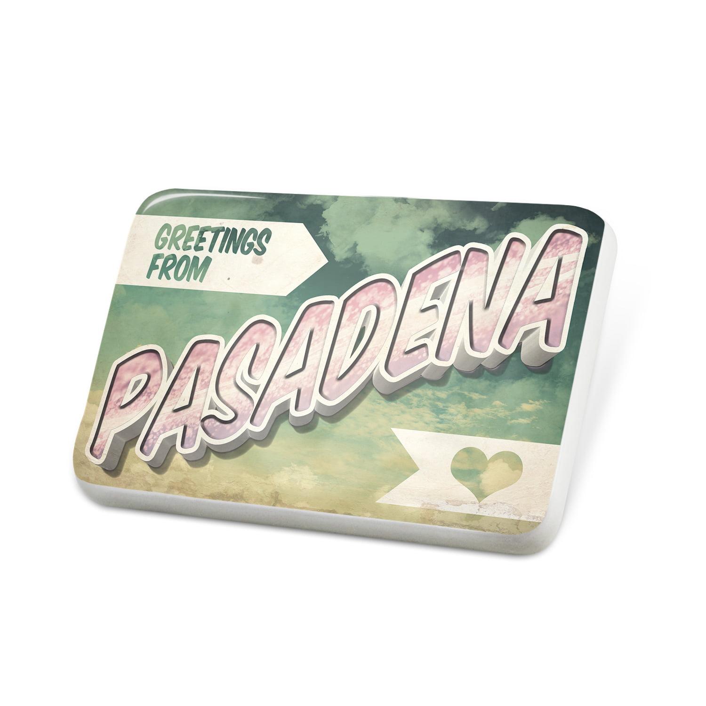 Porcelein Pin Greetings from Pasadena, Vintage Postcard Lapel Badge – NEONBLOND