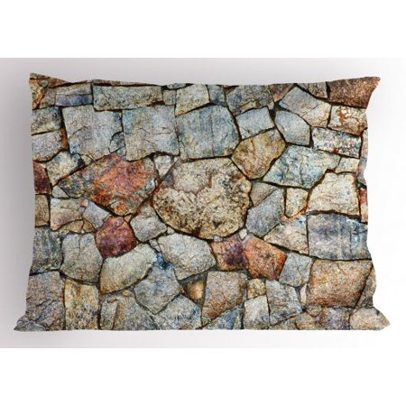 Cobblestone Pillow Sham Realistic Illustration of Antique Style Rustic Natural Rubble Stone Wall Design, Decorative Standard Size Printed Pillowcase, 26 X 20 Inches, Multicolor, by (20 Antique Bronze Cobblestone)