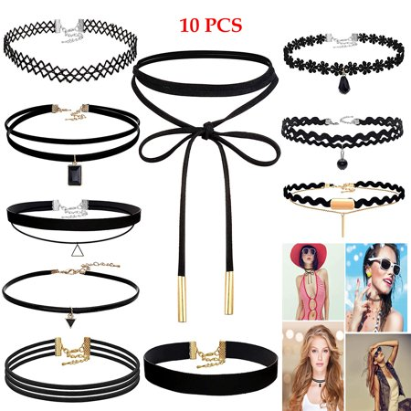 Simyoung Black Velvet Choker Necklace, Choker Necklace Set Stretch Velvet Classic Gothic Tattoo Lace Choker Necklaces for Women Girls - Pack of 10 British Classic Jewelry