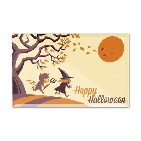 Happy Halloween Fall Tree - Retro Halloween - Lantern Press Artwork (6x4 Acrylic Photo Block Gallery Quality)