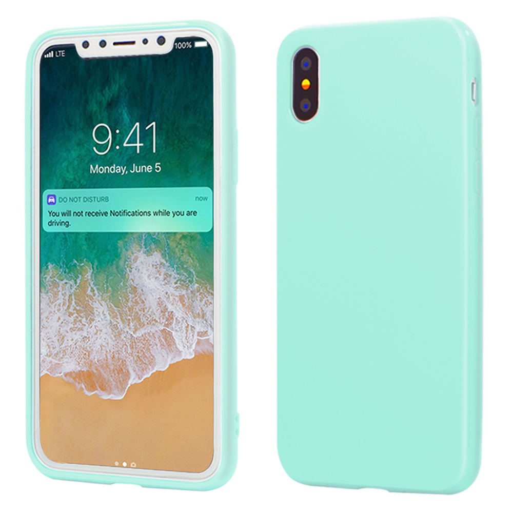 release date: c9ac9 8077e iPhone X Case, ANLEY Candy Fusion Series - [Shock Absorption] Classic Jelly  Silicone Case Soft Cover for Apple iPhone X (Mint Green) + Free Ultra ...