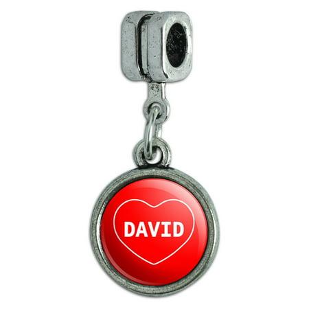 David I Love Heart European Style Bracelet Charm - No. 2
