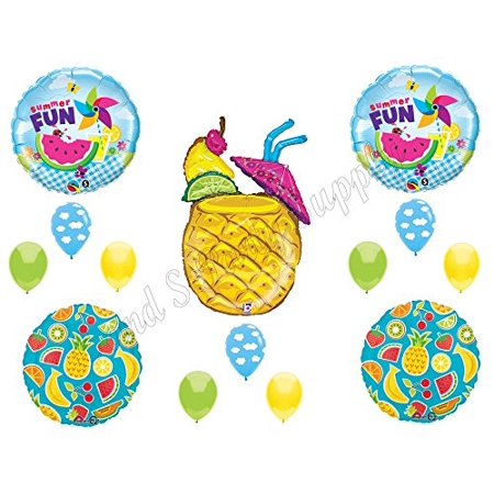 PINEAPPLE SUMMER DRINK Birthday Party Balloons Decoration Supplies Luau BBQ Pool (Barbecue Decorations)