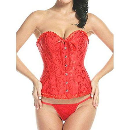 SAYFUT Women's Overbust Corset Bustier Fashion Jacquard Pattern Lace Body Shaper Red Size (Red Jacquard Corset Bustier)