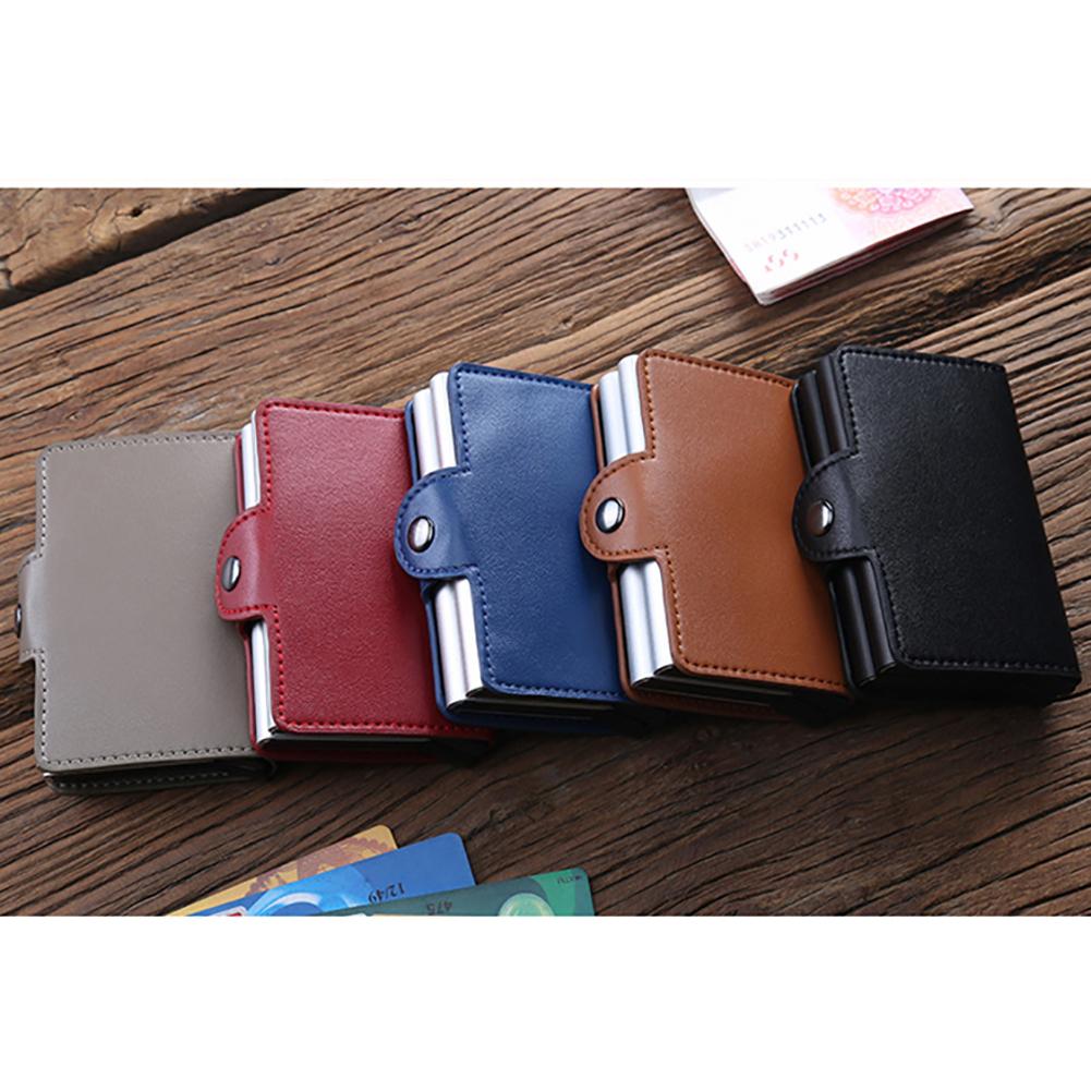 Aluminium Alloy Faux Leather Business Credit Card Holder Money Cash Clip Wallet