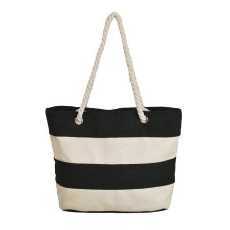 - Premium Large Striped 2 Tone Canvas Tote Shoulder Bag Handbag
