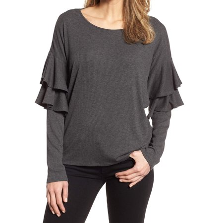 621934f8c6c1c4 CeCe Tops & Blouses - CeCe Womens Small Ruffled Ribbed Scoop Neck Knit Top  - Walmart.com