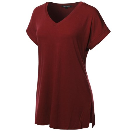FashionOutfit Women's Solid Rolled Up Short Sleeve Over-Sized V-Neck Tunic Top