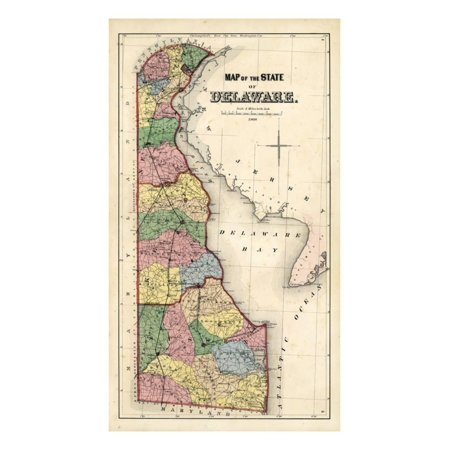 1868, Delaware State Map, Delaware, United States Print Wall Art ...