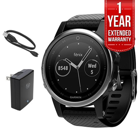 Garmin Fenix 5S Multisport 42mm GPS Watch - Silver w/ Black Band (010-01685-02) + Extended Warranty Bundle Includes, 1 Year Extended Warranty, Charging and Data Cable & USB Travel Wall