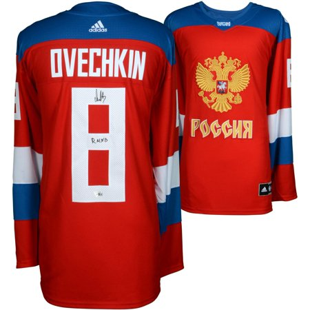 the best attitude 452d7 53c53 Alex Ovechkin Washington Capitals Autographed World Cup of Hockey 2016 Team  Russia Jersey with RMNB (Russian Machine Never Breaks) Inscription - ...