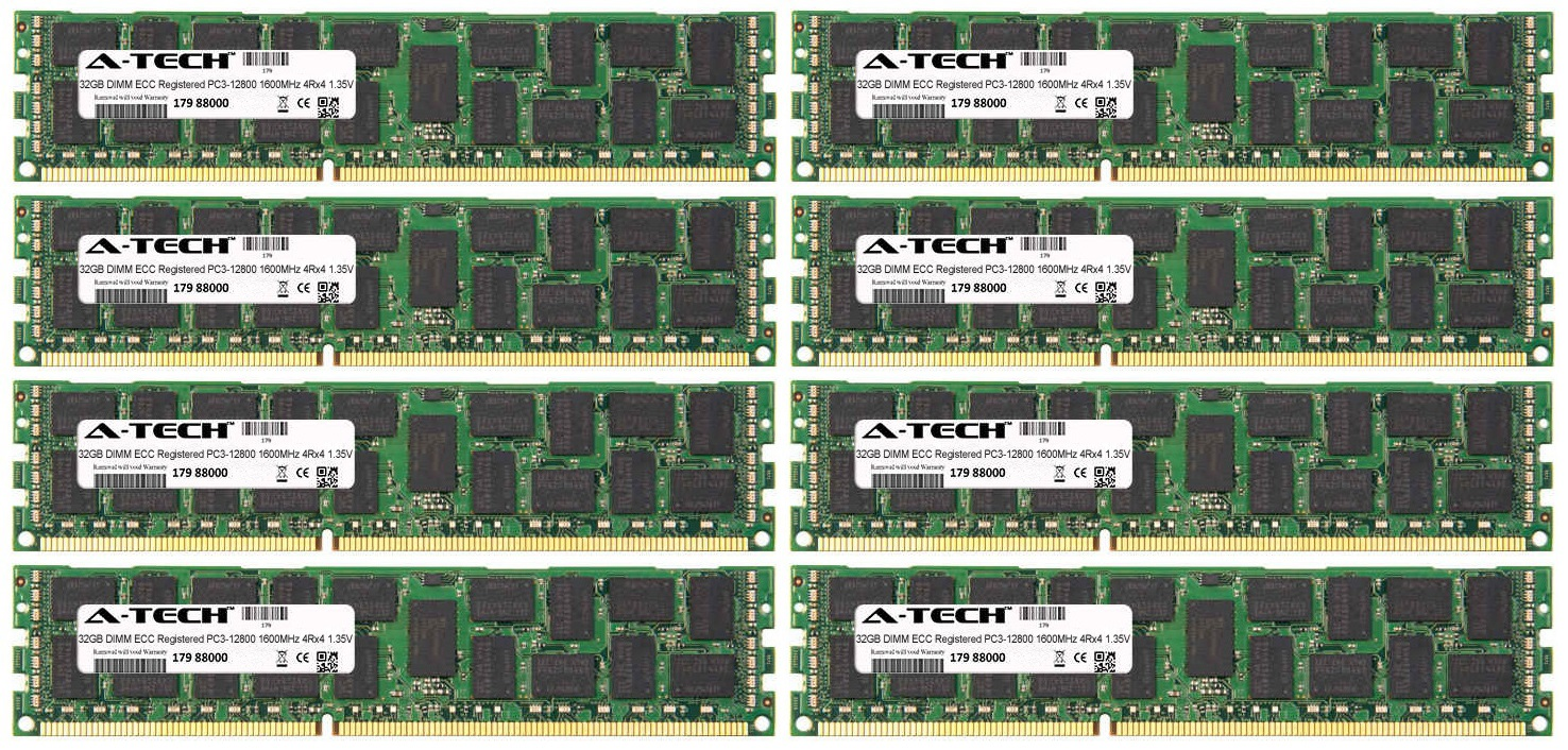 256GB Kit 8x 32GB Modules PC3-12800 1600MHz 1.35V 4Rx4 ECC Registered DDR3 DIMM Server 240-pin Memory Ram