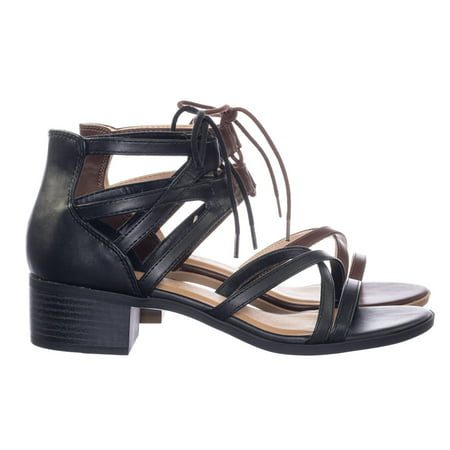 Talla by City Classified, Gladiator Cage Lace Up Low Chunky Block Heel Open Toe Sandal