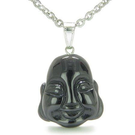 Amulet Lycky Charm Happy Buddha Face Black Agate Spiritual Powers Pendant 18 Inch Necklace (Buddha Face Pendant)