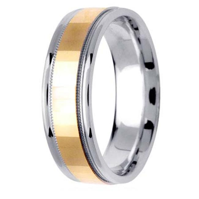 L. A.  Wedding 14KLAW1235-S6. 5 6. 5mm 14K Two Tone Wedding Band - Size 6. 5