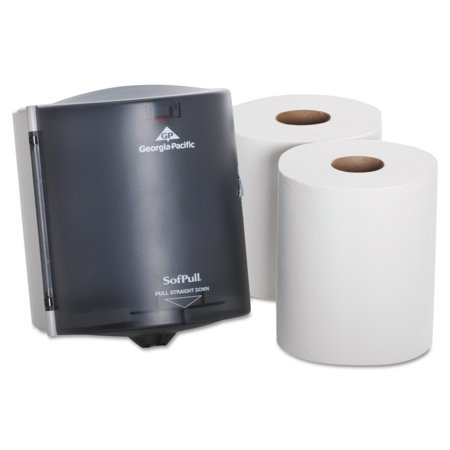 Georgia-Pacific Sofpull Trial Kit, 58205, Centerpull Paper Towel Dispenser Combo, Includes Dispenser and 2 Rolls, Translucent Smoke