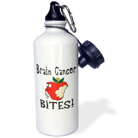 3dRose Funny Awareness Support Cause Brain Cancer Mean Apple, Sports Water Bottle, 21oz (Bottle Support)