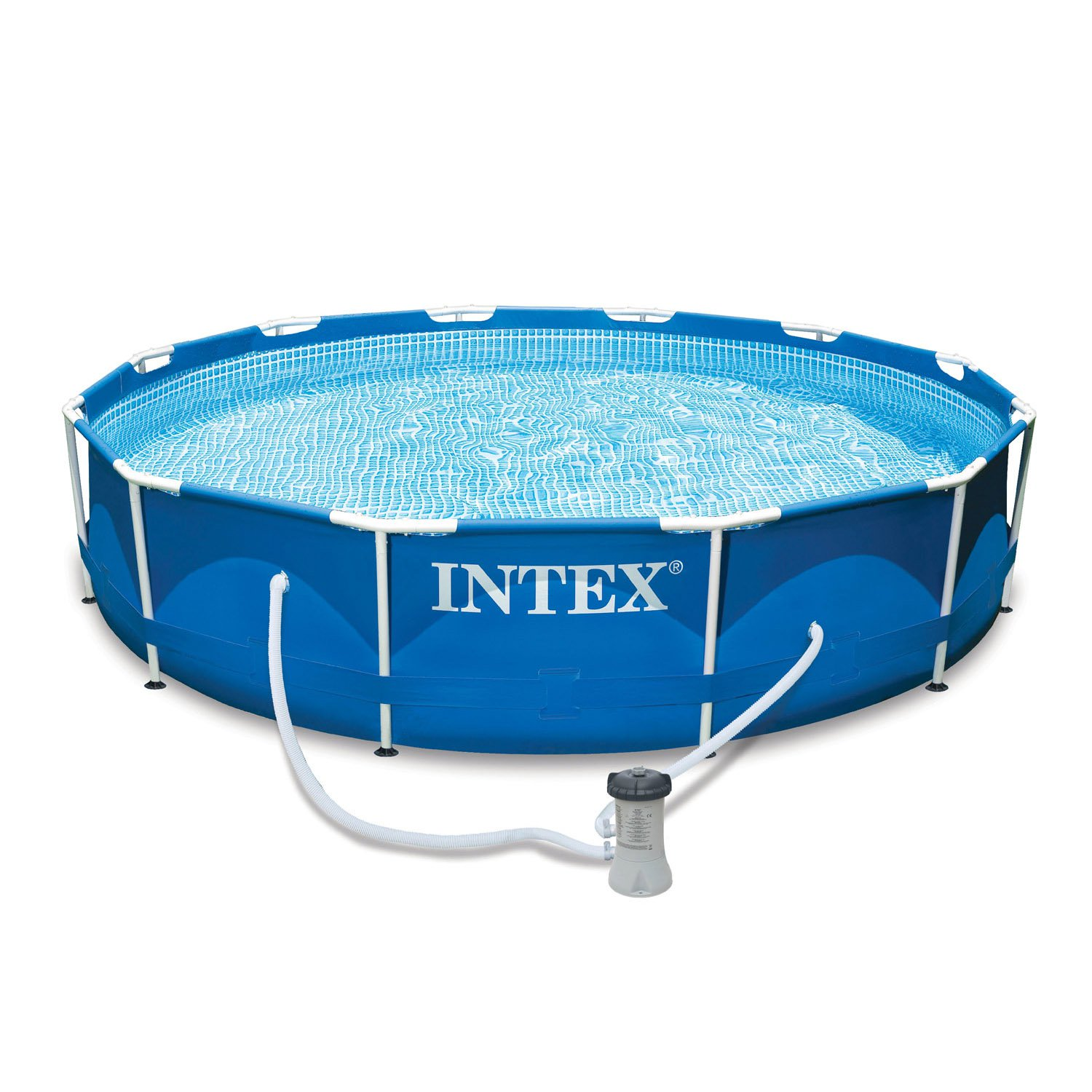 "Intex 12' x 30"" Metal Frame Set Above Ground Swimming Pool with Filter 