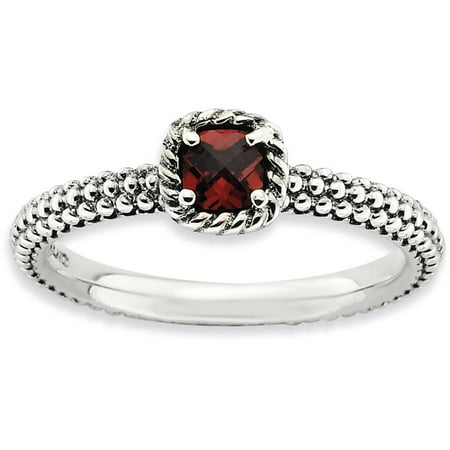 Checker-Cut Garnet Sterling Silver Antiqued Ring