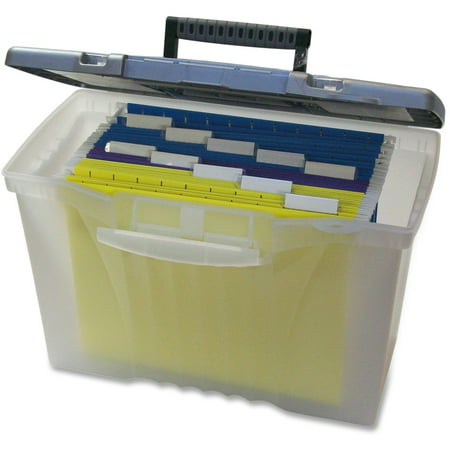 Storex, STX61511U01C, Plastic Portable File Box, 1 Each, Clear,Silver