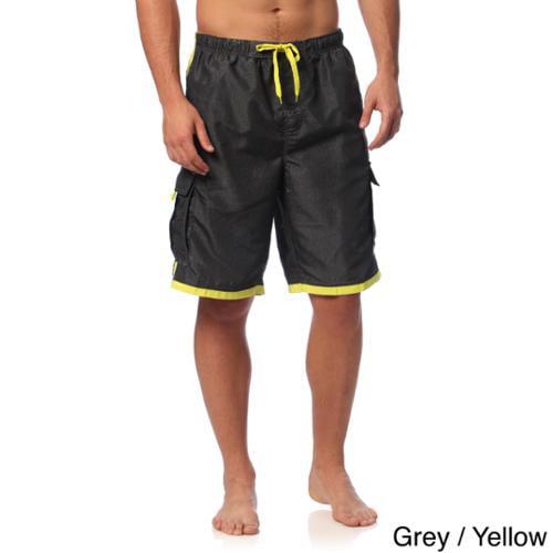 Burnside Men's Swim Striped Board Shorts Grey/Yellow  S