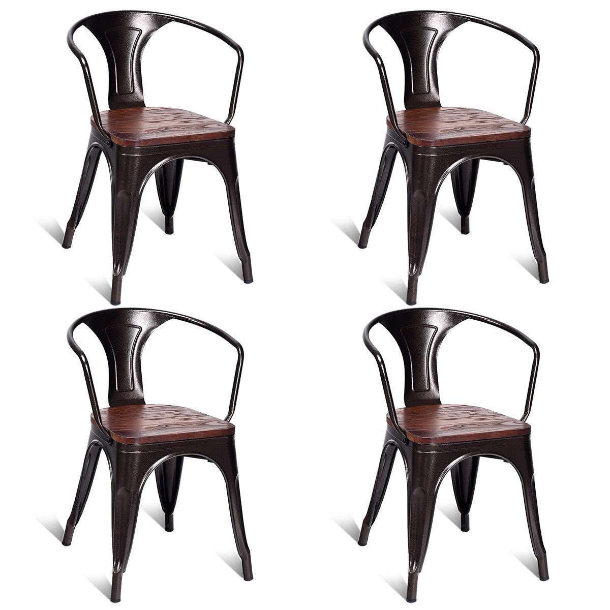 Costway Set of 4 Style Armchair Stackable Bistro Metal Wood Stool Furniture Copper