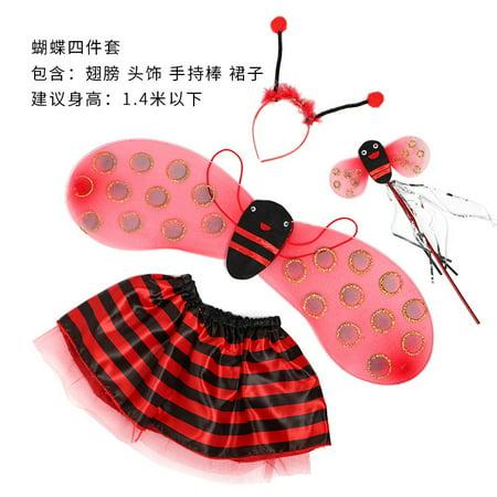 Fairy Dress For Kids (SHOPFIVE Kid Fairy Bug Wing Costume Set - Cute Wings, Tutu Dress, Wand Headband Girls Boys Halloween)