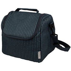 Insulated Lunch Cooler Bag - Large Meal Tote - Navy Blue Pinstripe Design