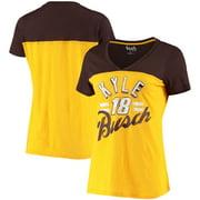 Kyle Busch Touch Women's Baseline V-Neck T-Shirt - Yellow/Brown