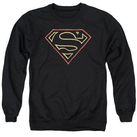 SUPERMAN/COLORED SHIELD - ADULT CREWNECK SWEATSHIRT - BLACK - SM