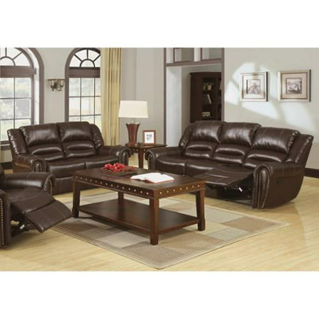 Furniture of America Harv 2-piece Brown Bonded Leather Sofa Set