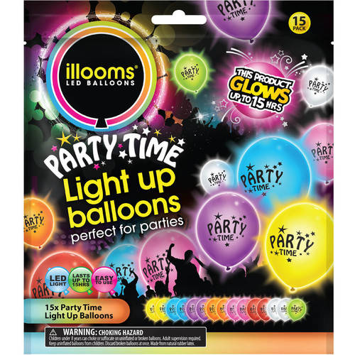 Illooms Printed Party Time Light-Up Balloons, 15pk, Mixed Colors