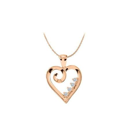 14K Rose Gold Vermeil 4 Stone CZ Family Heart -