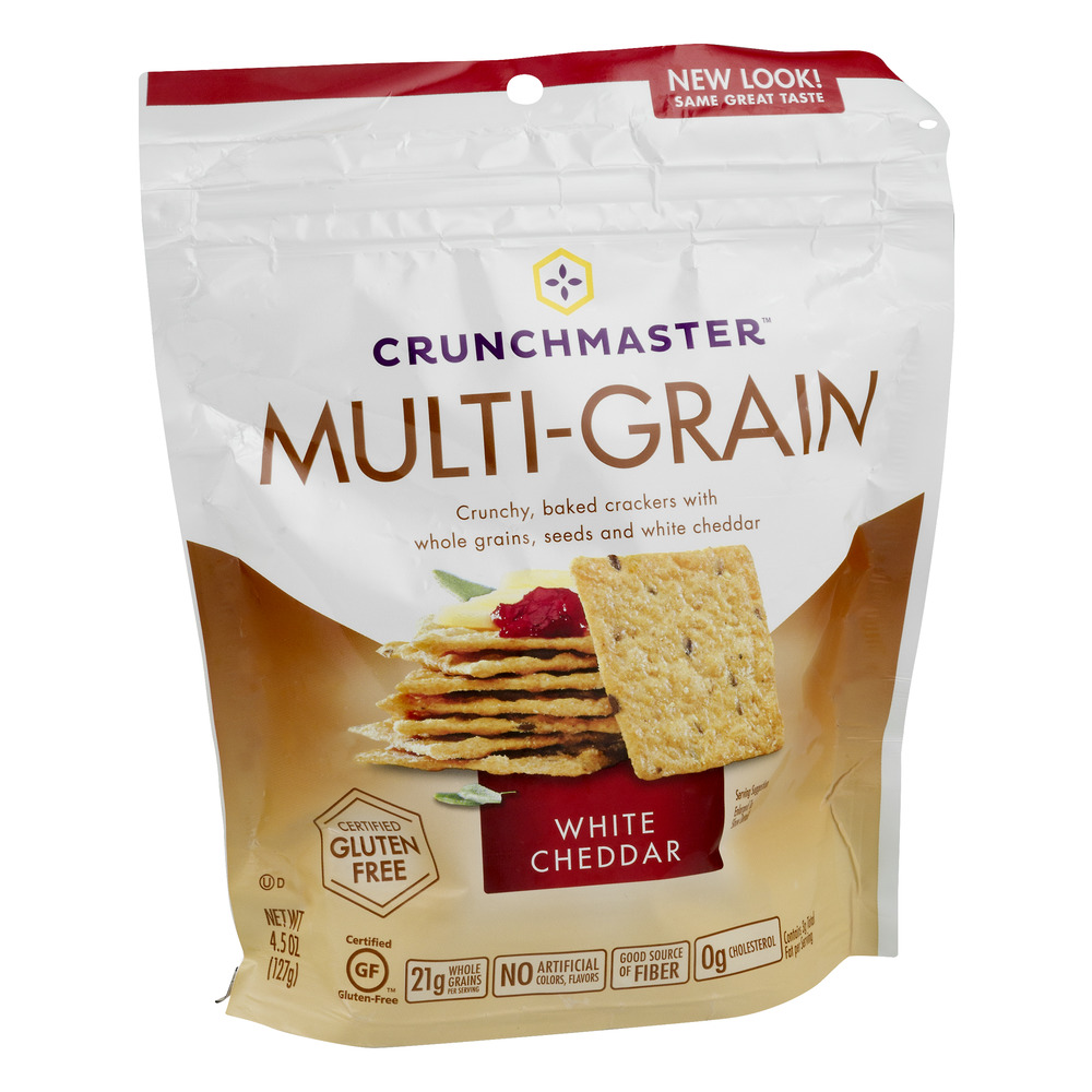 Crunchmaster?? White Cheddar Multi-Grain Crackers 4.5 oz. Pouch