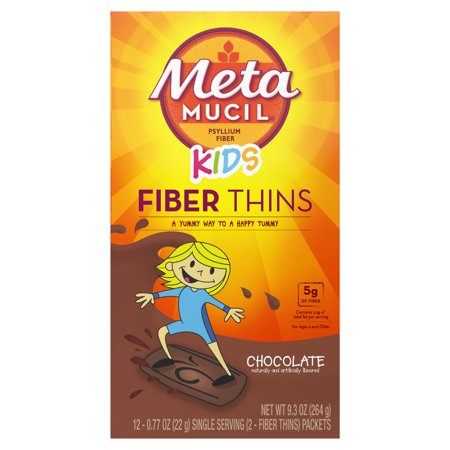 Metamucil Chocolate Kids Fiber Thins Fiber Supplement, 12 Servings - Fiber Chews Chocolate