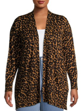 Terra & Sky Women's Plus Size Everyday Essential Leopard Print Open-Front Cardigan
