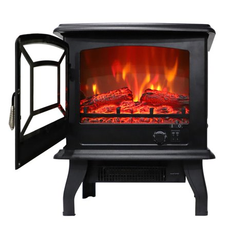 Zimtown 1400W Free Standing Electric 1500W Fireplace Heater Fire Flame Stove Wood Adjustable