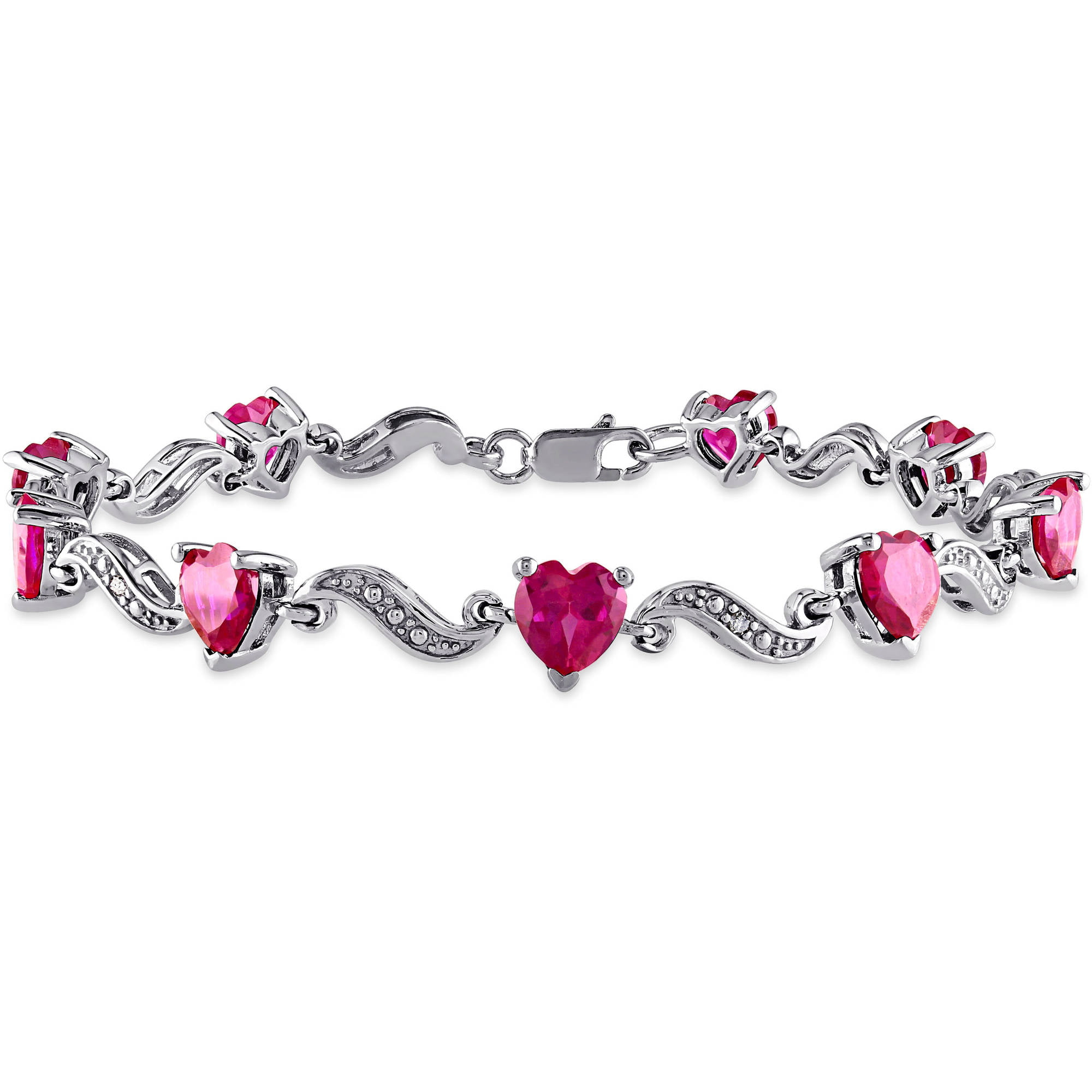 """9-1 10 Carat T.G.W. Created Ruby and Diamond Accent Sterling Silver Heart Bracelet, 7"""" by Generic"""