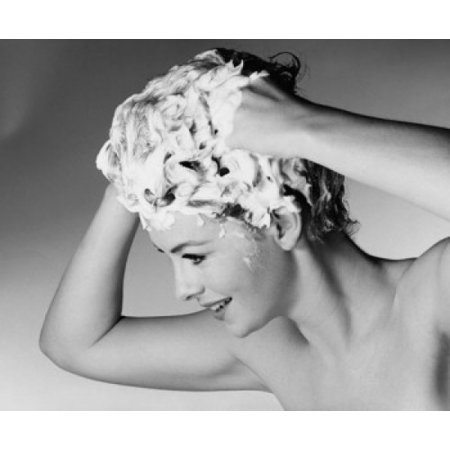 Close-up of a young woman shampooing her hair Canvas Art - (18 x 24)