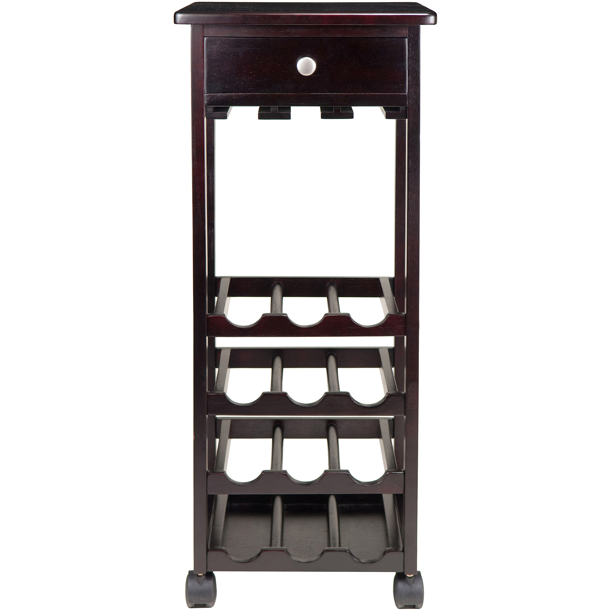 Marsala Rack 12-Bottle Glass Rack Wine Cart with Casters, Espresso