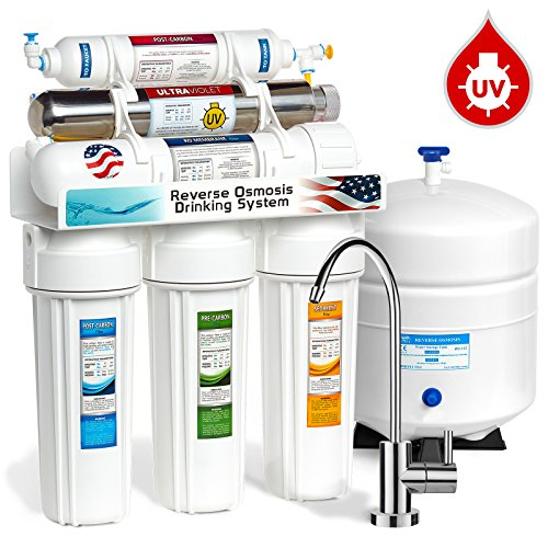Express Water 6 Stage UV Ultra-Violet Sterilizer Reverse Osmosis Home Drinking Water Filtration System -100 GPD- MODERN faucet - ROUV10M