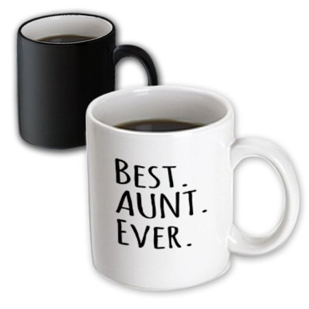 3dRose Best Aunt Ever - Family gifts for relatives and honorary Aunts and Great Aunties - black text, Magic Transforming Mug,